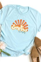 Uniqdress Stylish Print Baby Blue T-shirt