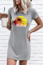 Uniqdress Letter Beer Me Print Loose Grey Mini Dress