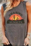 Uniqdress CHASING SUNSETS Print Grey Tank Top