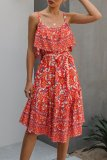 Uniqdress Lace-up Boho Floral Print Red Midi Dress