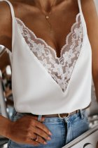 Uniqdress Lace Patchwork White Cami Tank
