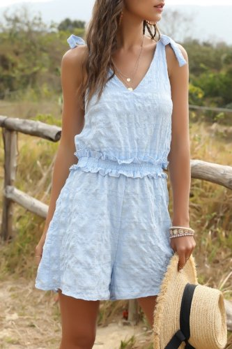 Uniqdress Lace-up Skyblue One-piece Romper