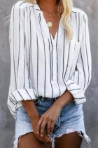 Uniqdress Striped Loose White Blouse