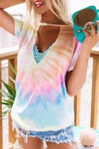 Uniqdress Tie-dye Print Lace Multicolor T-shirt