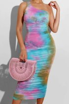 Uniqdress One Shoulder Tie-dye Multicolor Midi Dress