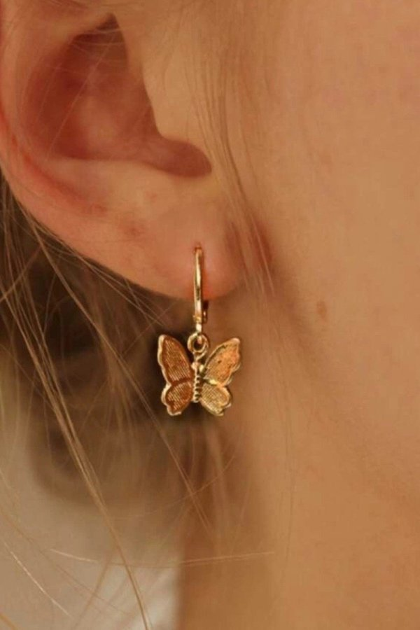 Uniqdress Butterfly Rose Gold Earring