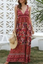 Uniqdress Boho Print Knot Jacinth Maxi Dress