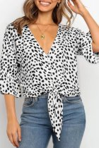 Uniqdress Ruffled Animal Print Knot White Blouse