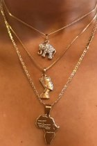 Uniqdress Elephant Gold Necklace