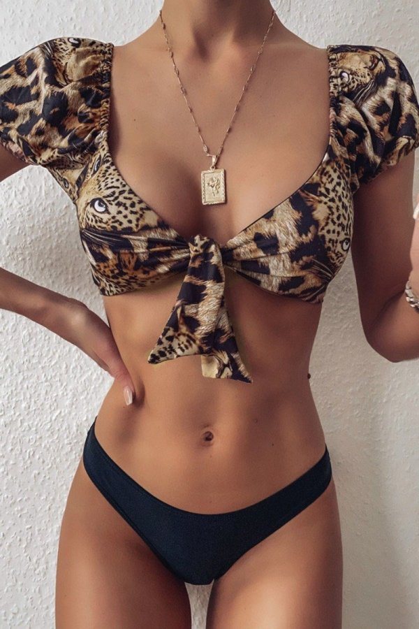 Uniqdress Leopard Print Knot Design Bikini Set