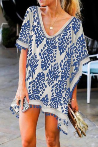 Uniqdress Boho Print Tassel Cover-up (2 Colors)