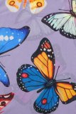 Uniqdress Butterfly Print Purple Base Layer