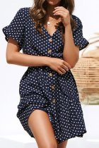 Uniqdress Ruffled Dot Print Button Design Navy Blue Mini Dress