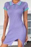 Uniqdress Turndown Collar Buttons Design Purple Mini Dress