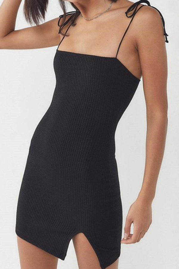 Uniqdress Lace-up Side Slit Black Mini Dress