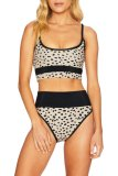 Uniqdress Print Patchwork Beige Two-piece Swimsuit