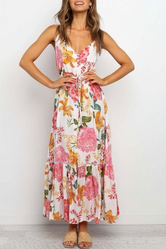 Uniqdress Lace-up Floral Print Red Maxi Dress