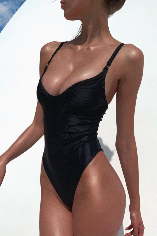 Uniqdress Skinny Black One-piece Swimsuit