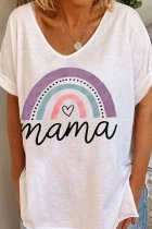 Uniqdress Rainbow Mama Print White T-shirt