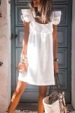 Uniqdress Fold Design White Knee Length Dress