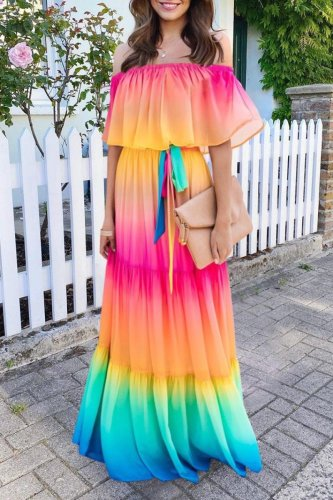 Uniqdress Gradual Change Multicolor Maxi Dress