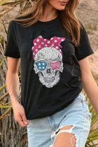 Uniqdress Funny Skull Print Black T-shirt