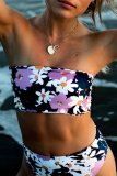 Uniqdress Bandeau Floral Print Dark Blue Bikini Set