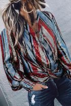 Uniqdress Striped Sequin Multicolor Shirt