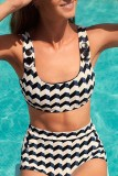 Uniqdress Print Black Two-piece Swimsuit