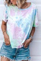 Uniqdress Tie-dye Loose Blue T-shirt