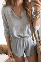 Uniqdress Buttons Design Lace-up Grey One-piece Romper