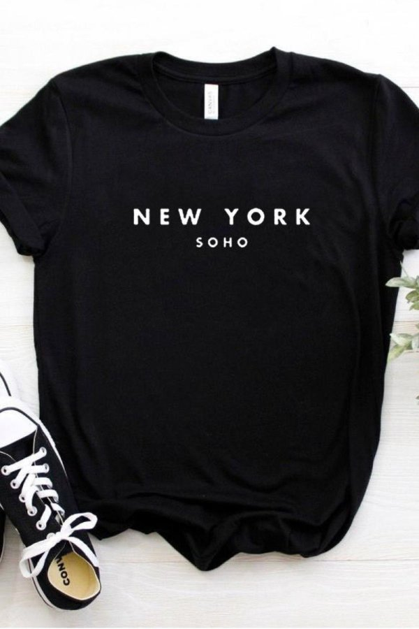 Uniqdress Letter  New York  Black T-shirt