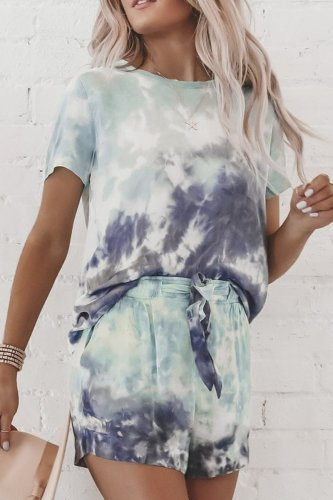 Uniqdress Lace-up Tie-dye Print Two-piece Shorts Set (2 Colors)