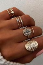 Uniqdress Fashion 7-piece Gold Ring