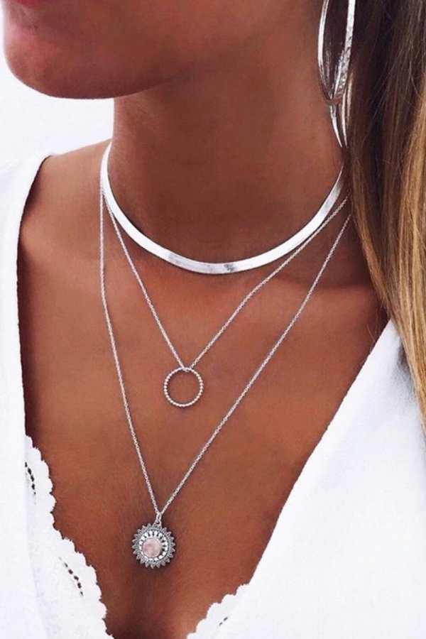Uniqdress Fashion Hollow-out Silver Necklace