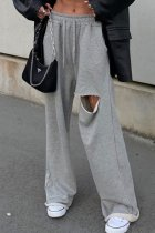 Uniqdress Hollow-out Grey Pants