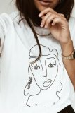 Uniqdress Funny Face Print White T-shirt