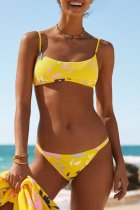 Uniqdress Bandeau Floral Print Yellow Bikini Set