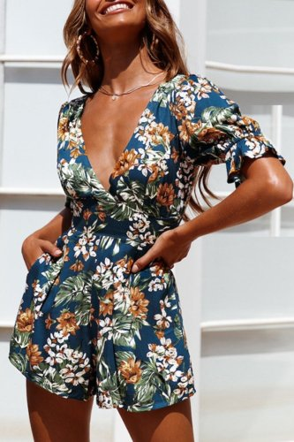 Uniqdress Plants Print Blue One-piece Romper