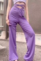 Uniqdress Bandage Design Purple Pants