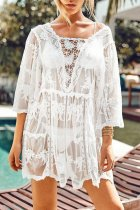 Uniqdress Lace Hollow-out White Cover-Up