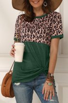 Uniqdress Patchwork Leopard Print Green T-shirt