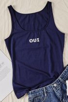 Uniqdress Letter Oui Blue Cami Tank