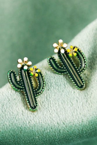 Uniqdress Cactus Design Blackish Green Earring