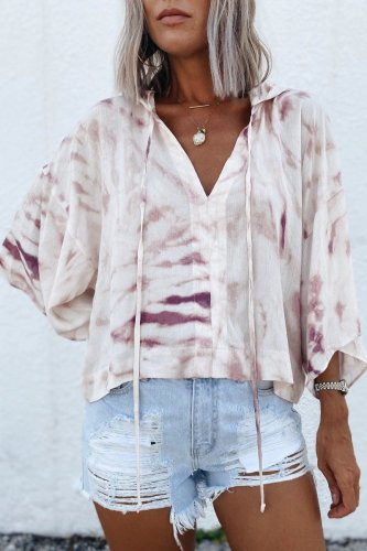 Uniqdress Hooded Collar Tie-dye White Blouse