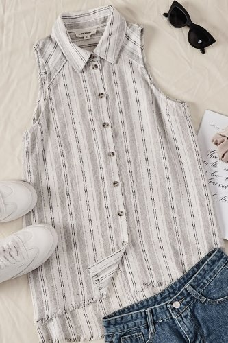 Uniqdress Dew Shoulder Striped White Shirt