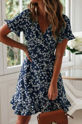 Uniqdress Floral Print Dark Blue Mini Dress