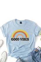 Uniqdress Letter GOOD VIBES Print Skyblue T-shirt