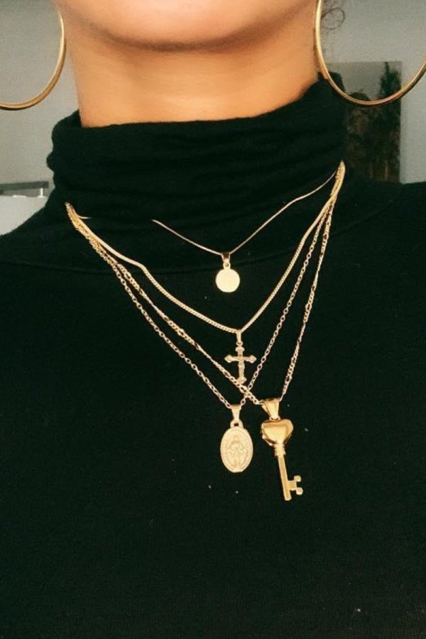 Uniqdress Key Gold Necklace