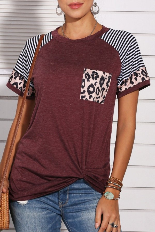 Uniqdress Patchwork Leopard Striped Wine Red T-shirt